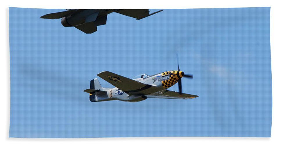P-51 Mustang Beach Towel featuring the photograph Heritage Flight, P-51 Mustang And F-16 Fighting Falcon by Bruce Beck