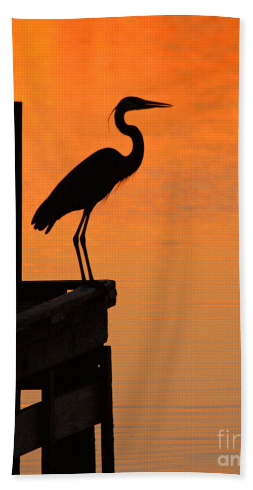 Clay Beach Towel featuring the photograph Heron At Sunset by Clayton Bruster