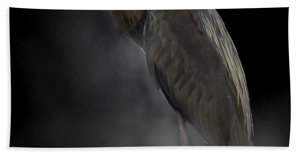Gbh Beach Towel featuring the photograph Heron On A Foggy Morning by Jenny Gandert