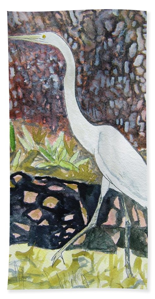 Bird Beach Towel featuring the painting Herron by Derek Mccrea