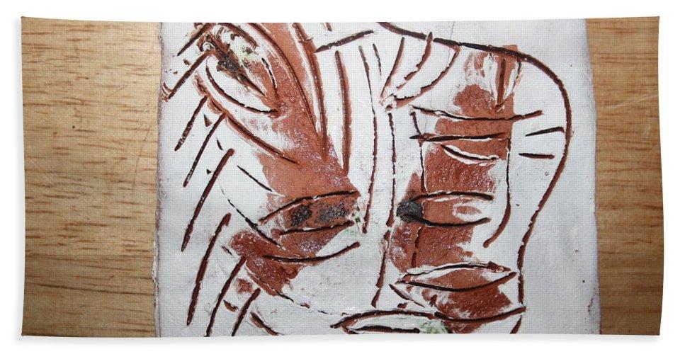 Jesus Beach Towel featuring the ceramic art Hey - Tile by Gloria Ssali