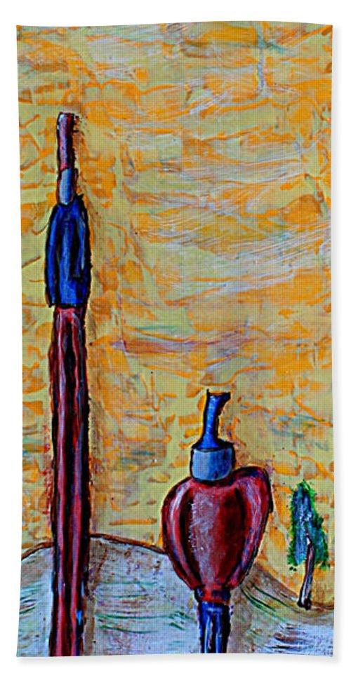 Sun Beach Towel featuring the painting Hey Man, You're Kinda Blocking My Sun by Mario MJ Perron