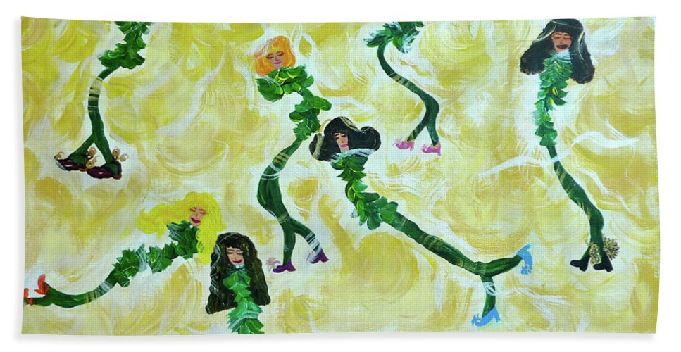 Whimsical Image Beach Towel featuring the painting Hey Sole Sister by Sara Credito