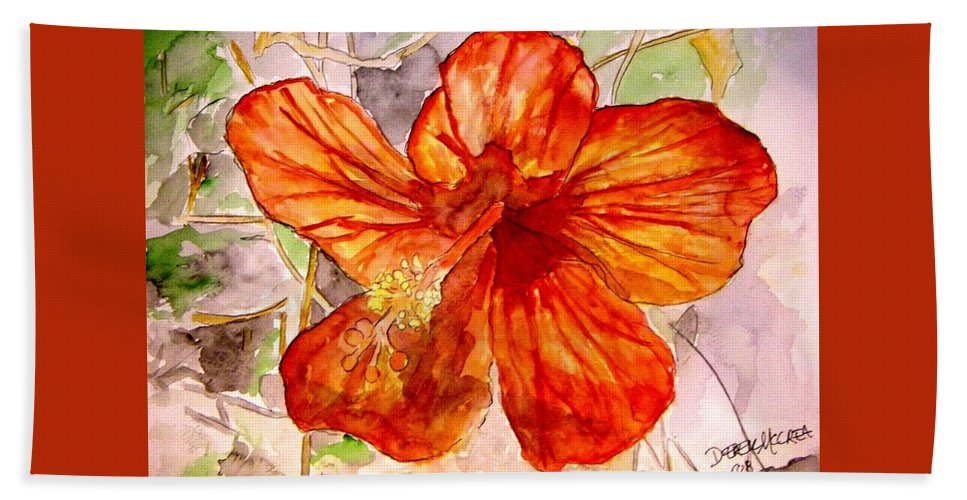 Hibiscus Beach Towel featuring the painting Hibiscus 2 by Derek Mccrea