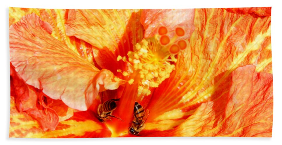Bees Beach Sheet featuring the photograph Hibiscus And Bees by Anthony Jones
