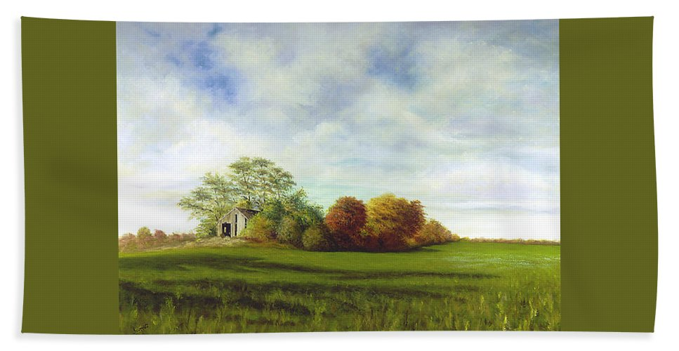 Beach Towel featuring the painting Hidden Barn by Tony Scarmato