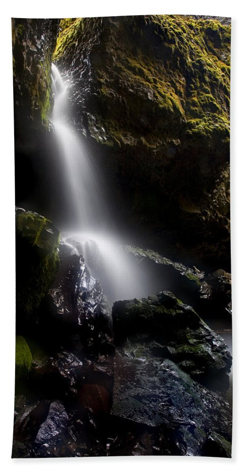 Waterfall Beach Towel featuring the photograph Hidden Falls by Mike Dawson
