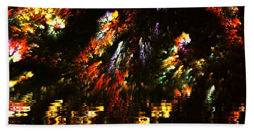 Water Beach Towel featuring the painting Hidden Lake by Steve K