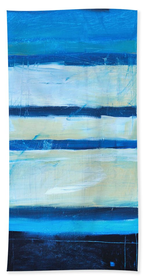 Abstract Beach Towel featuring the painting Hidden Moon by Tim Nyberg