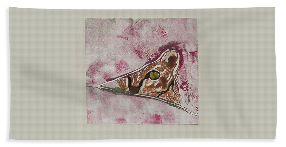 Cat Beach Towel featuring the mixed media Hide and Seek by Cori Solomon