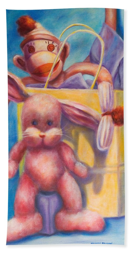 Children Beach Towel featuring the painting Hide And Seek by Shannon Grissom