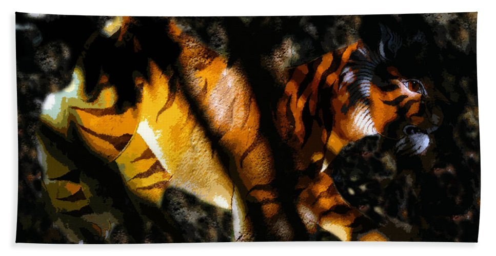 Art Beach Towel featuring the painting Hiding Tiger by David Lee Thompson
