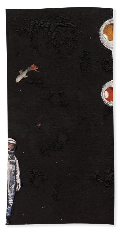 Spaceman Beach Towel featuring the mixed media High Above Him There by Jaime Becker