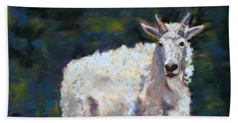 Mountain Goat Beach Towel featuring the painting High Country Friend by Mary Benke