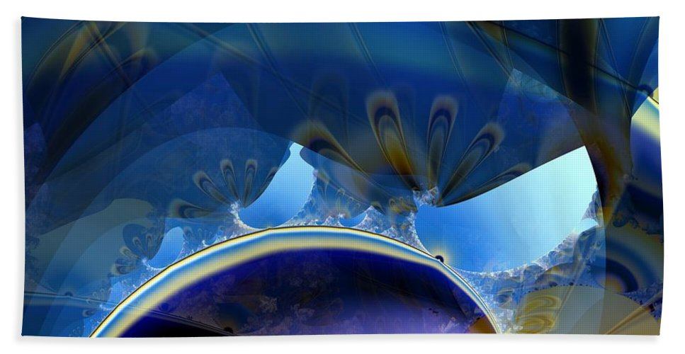Lighter Than Air Beach Towel featuring the digital art High In The Dirigible by Ron Bissett
