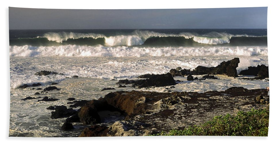 High Ocean Surf Beach Towel featuring the photograph High Ocean Surf by Sally Weigand