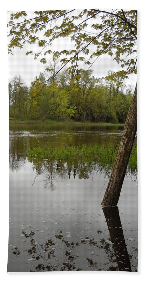Mississippi River Beach Towel featuring the photograph High Water Reflections by Kent Lorentzen