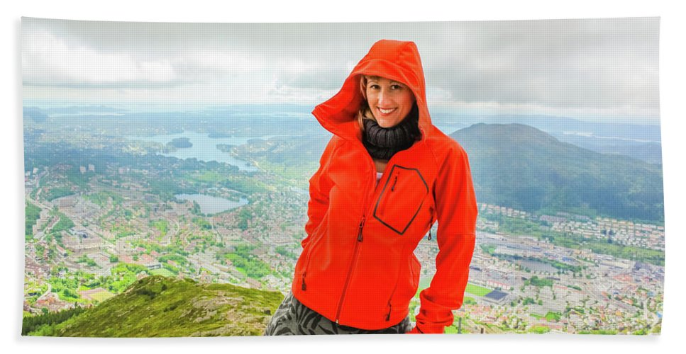 Norway Beach Towel featuring the photograph Hiker Woman In Norway by Benny Marty