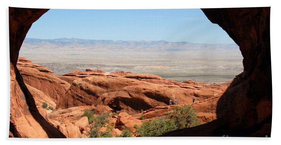 Arches National Park Utah Beach Towel featuring the photograph Hiking Through Arches by David Lee Thompson