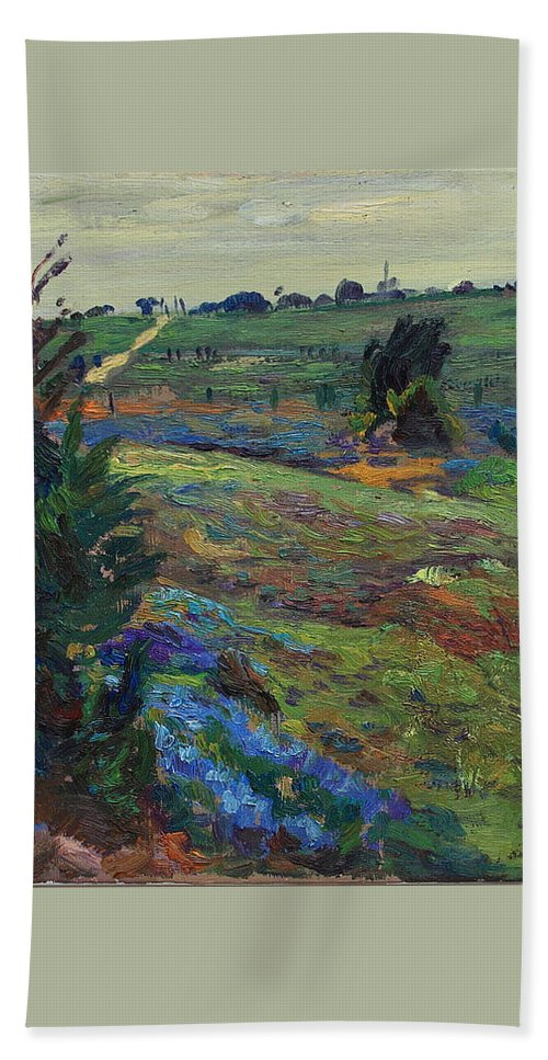 Blue Bonnets Beach Towel featuring the painting Hills Of Joy by Maris Salmins