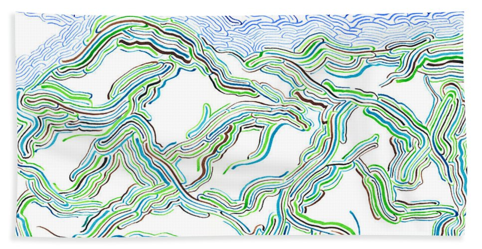 Mazes Beach Towel featuring the drawing Hills by Steven Natanson