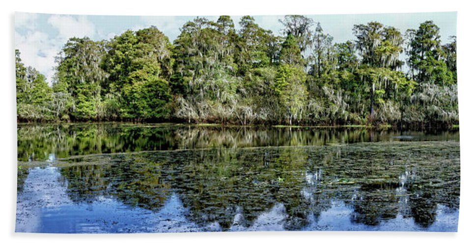 Panorama Beach Towel featuring the photograph Hillsborough River Panorama 1 by John Trommer