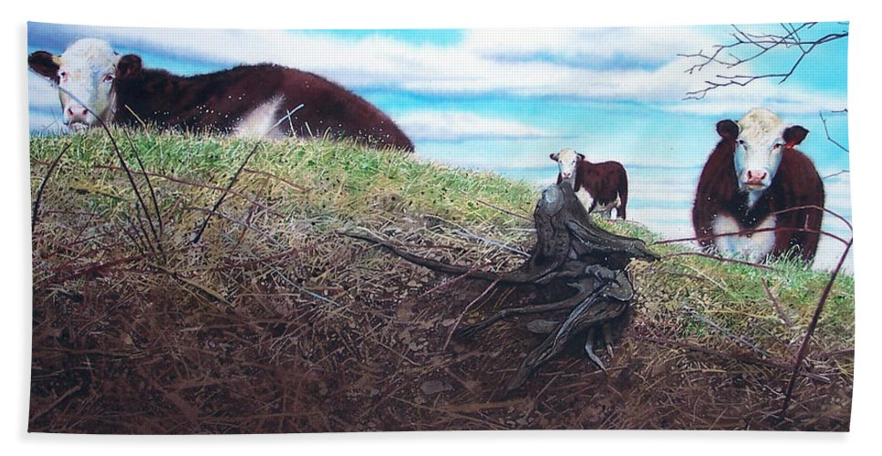 Steers Beach Towel featuring the painting Hillside Retreat by Denny Bond