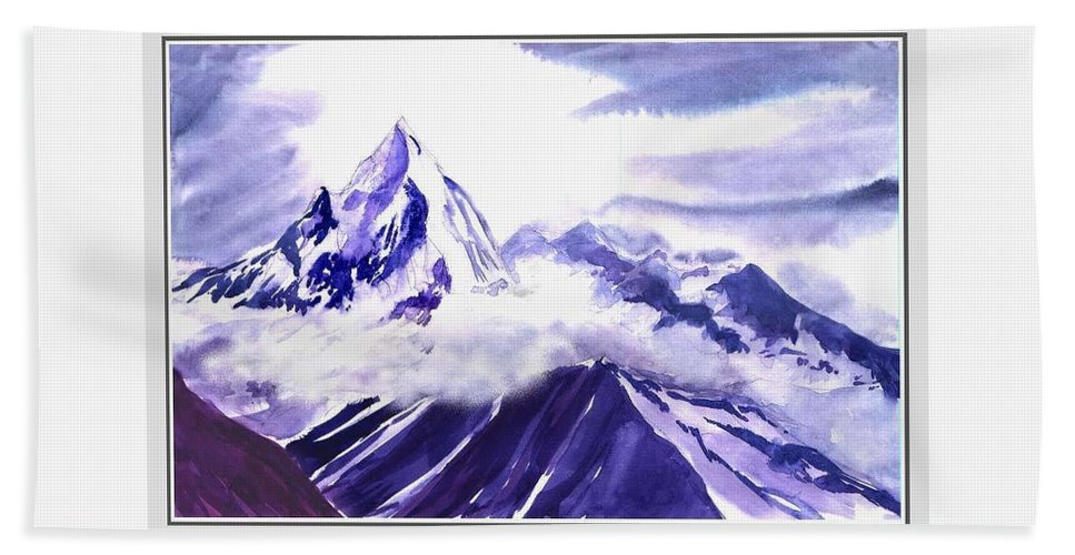 Landscape Beach Sheet featuring the painting Himalaya by Anil Nene