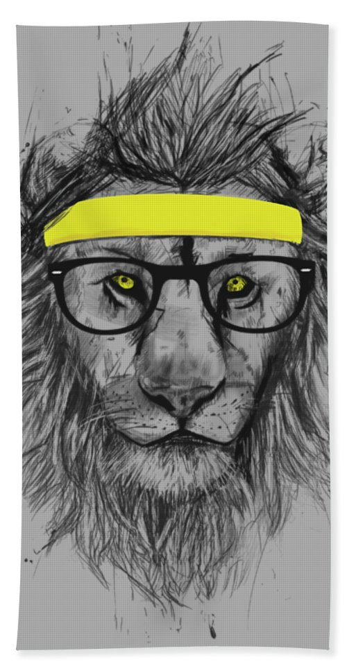 Lion Beach Towel featuring the drawing Hipster lion by Balazs Solti
