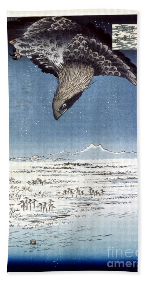 100 Famous Views Of Edo Beach Towel featuring the photograph Hiroshige: Edo/eagle, 1857 by Granger