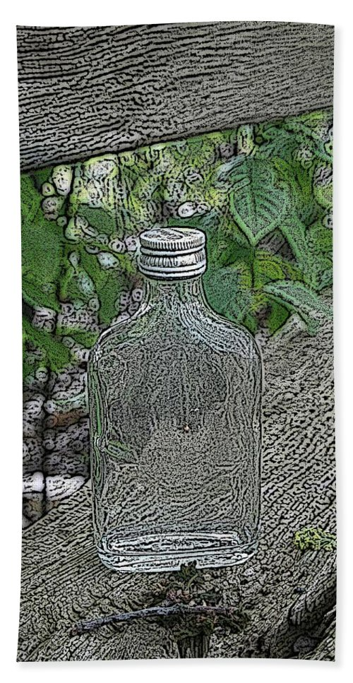 Bottle Beach Towel featuring the mixed media His Last Drink by Steve K