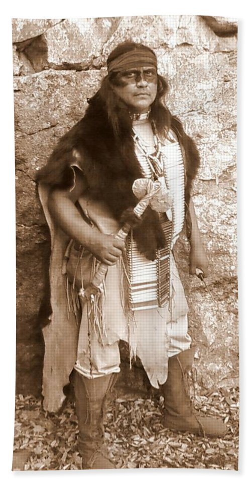 Indian Warclub Scout Sepia Apache Bear Hide Beach Towel featuring the photograph His Warclub by Cindy New