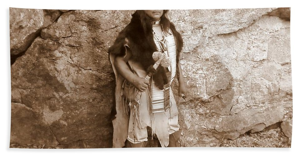 Indian Scout Warclub Apache Sepia Rocks Beach Towel featuring the photograph His Warclub II by Cindy New