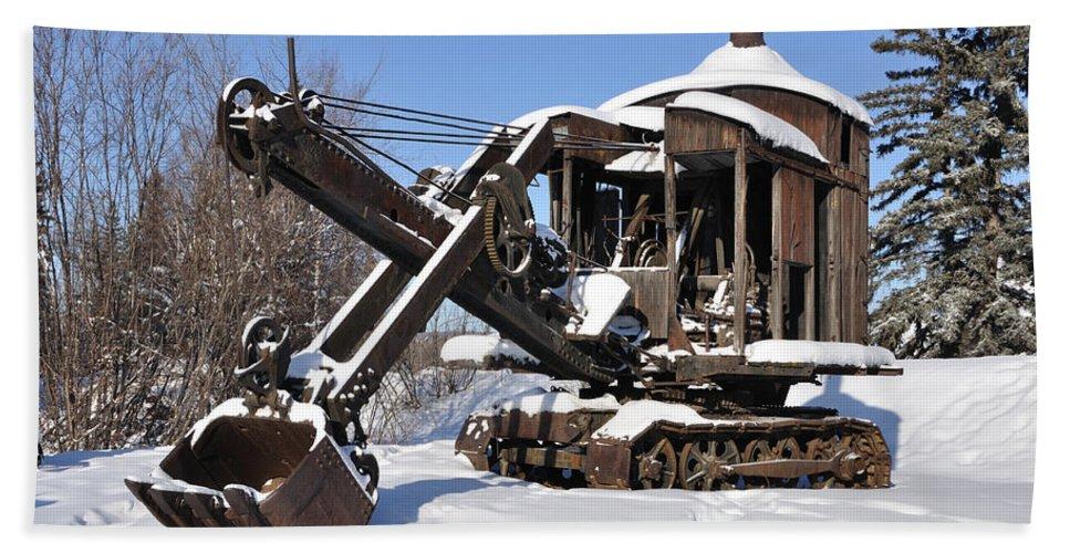 Alaska Beach Towel featuring the photograph Historic Mining Steam Shovel During Alaska Winter by Gary Whitton