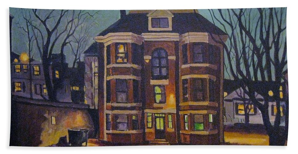 Moody Beach Towel featuring the painting Historic Property South End Haifax by John Malone