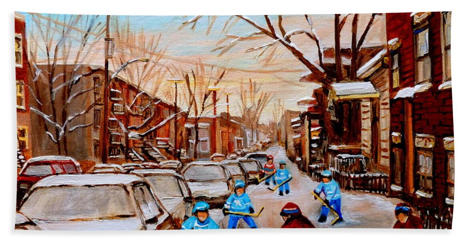 Montreal Beach Towel featuring the painting Hockey Gameon Jeanne Mance Street Montreal by Carole Spandau