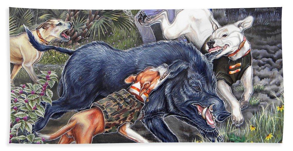 Hog Beach Towel featuring the painting Hog Hammock Earrings by Monica Turner