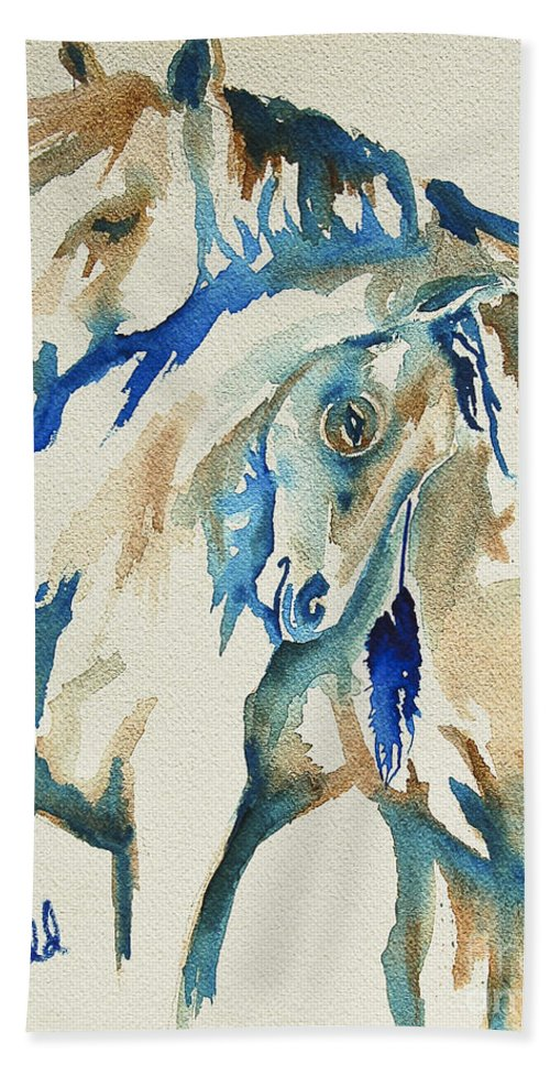 Living Room Beach Towel featuring the painting Holding On   War Ponies by Johnnie Stanfield