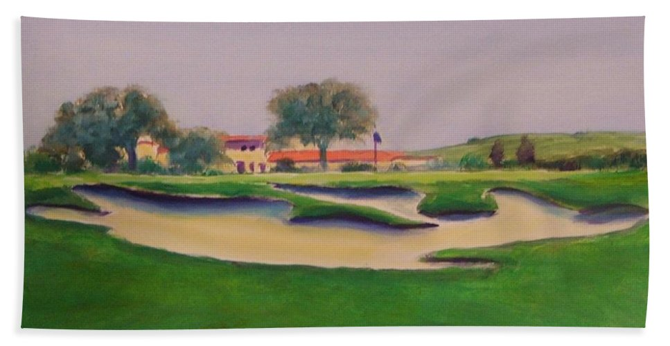 Golf Beach Towel featuring the painting Hole 18 Safe Passage by Shannon Grissom