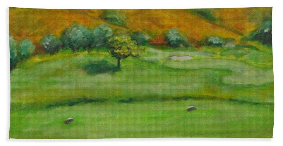 Golf Beach Towel featuring the painting Hole 4 Outward Bound by Shannon Grissom