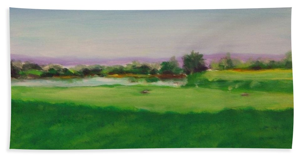 Golf Beach Towel featuring the painting Hole 8 Mission Green by Shannon Grissom
