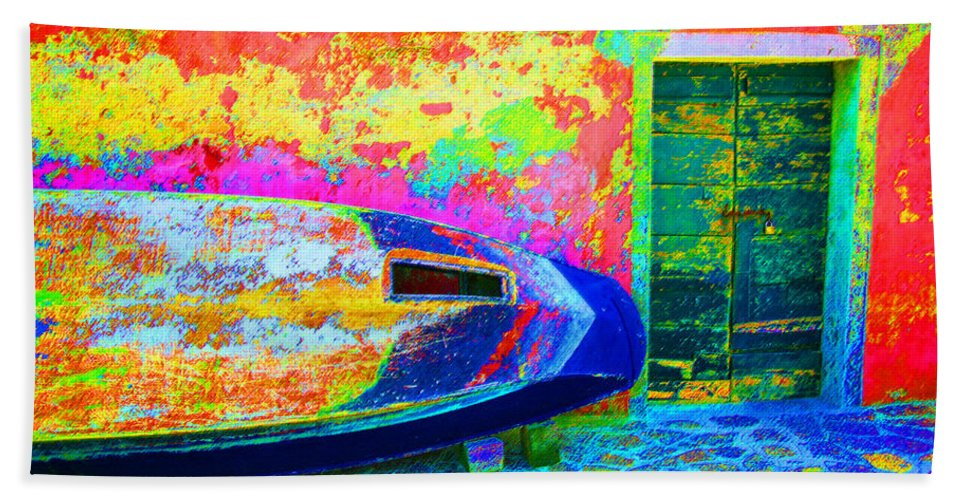 Digital Pastel Beach Towel featuring the digital art Hole In The Boat by Donna Corless