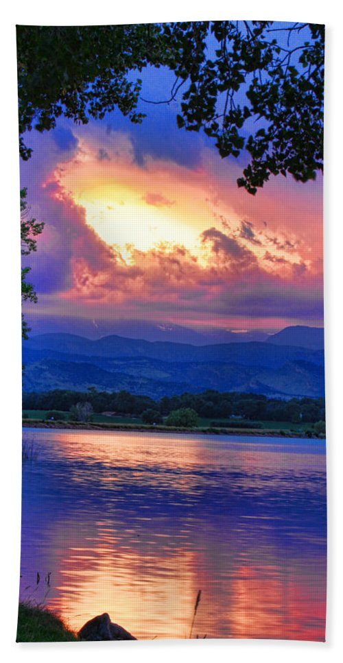 Sunsets Beach Towel featuring the photograph Hole In The Sky Sunset by James BO Insogna