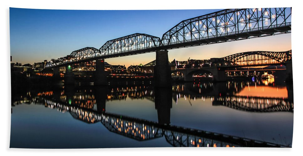 Chattanooga Beach Towel featuring the photograph Holiday Lights Chattanooga #3 by Tom and Pat Cory