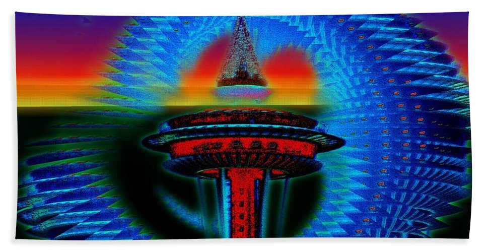 Seattle Beach Towel featuring the digital art Holiday Needle Illusion by Tim Allen