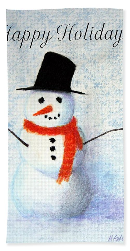 Christmas Beach Towel featuring the pastel Holiday Snowman by Marna Edwards Flavell
