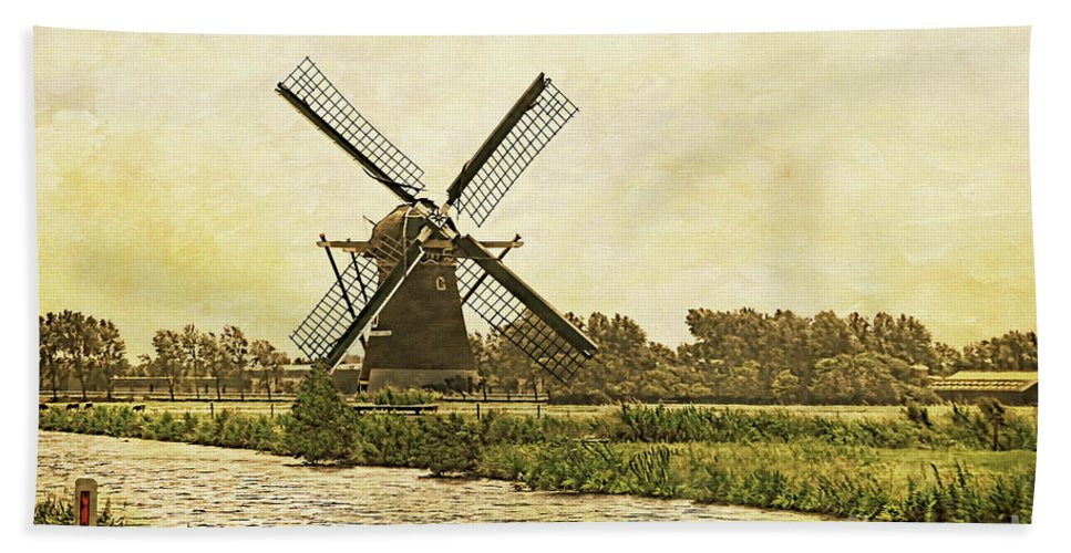 Gabriele Pomykaj Beach Towel featuring the photograph Holland - Windmill by Gabriele Pomykaj