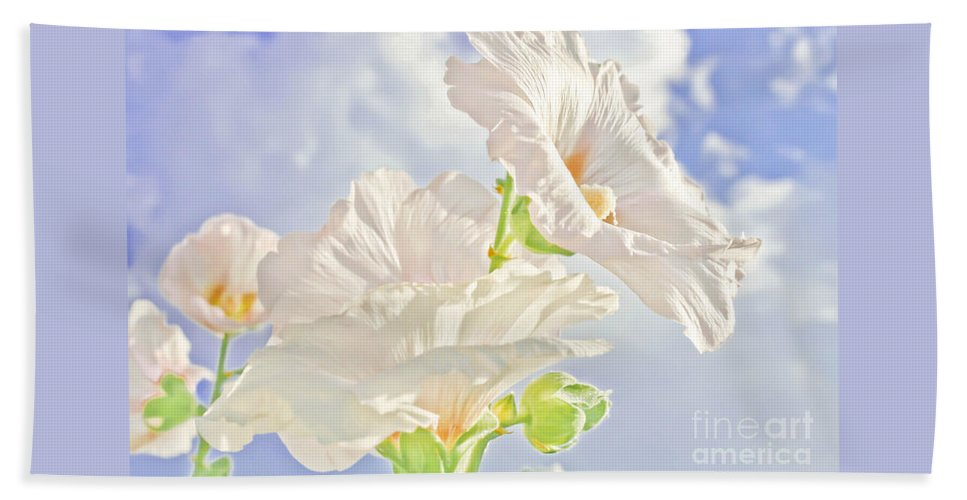 Flowers Beach Towel featuring the photograph Hollyhocks And Sky by Barbara Dean