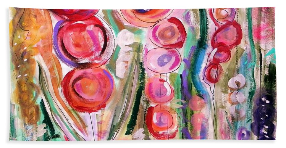 Floral Beach Towel featuring the painting Hollyhocks Of The Garden by Mary Carol Williams