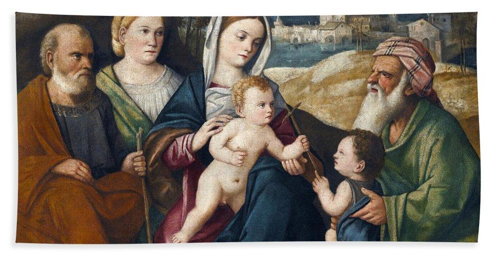 Pietro Degli Ingannati Holy Conversation Beach Towel featuring the painting Holy Conversation by Pietro degli Ingannati